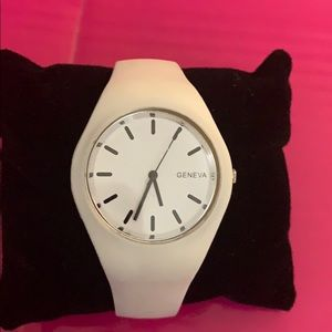 Geneva Refurbished Adjustable White Band Watch.